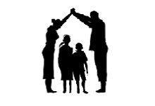 Parents and kids silhouette