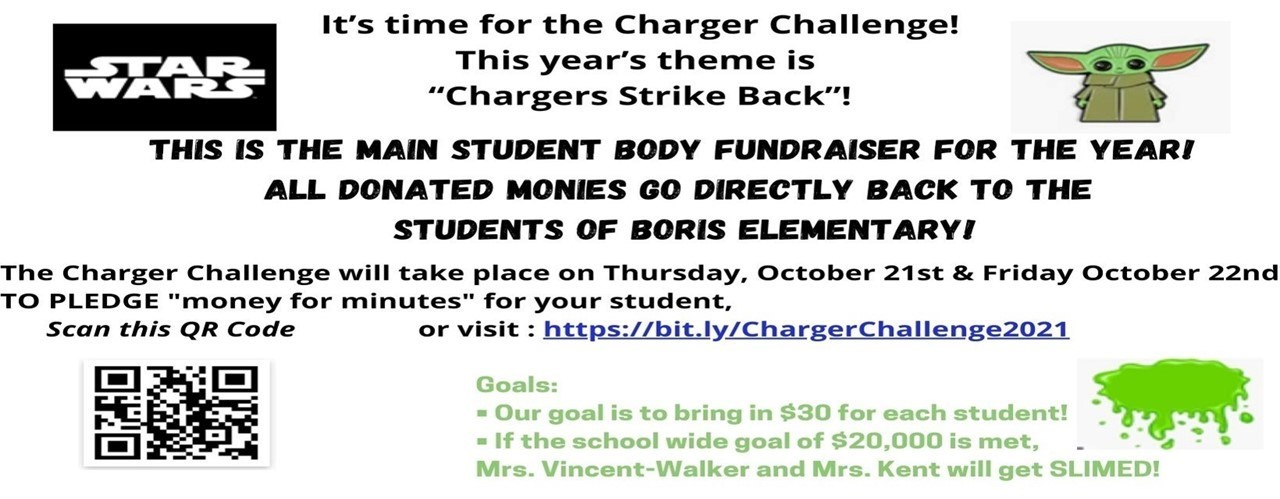 The Charger Challenge is October 21st. Click for full information.