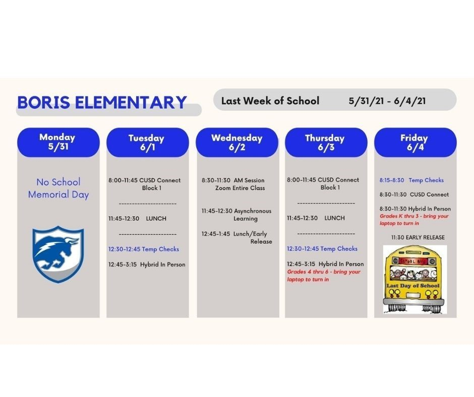 Last week of school schedule 2021