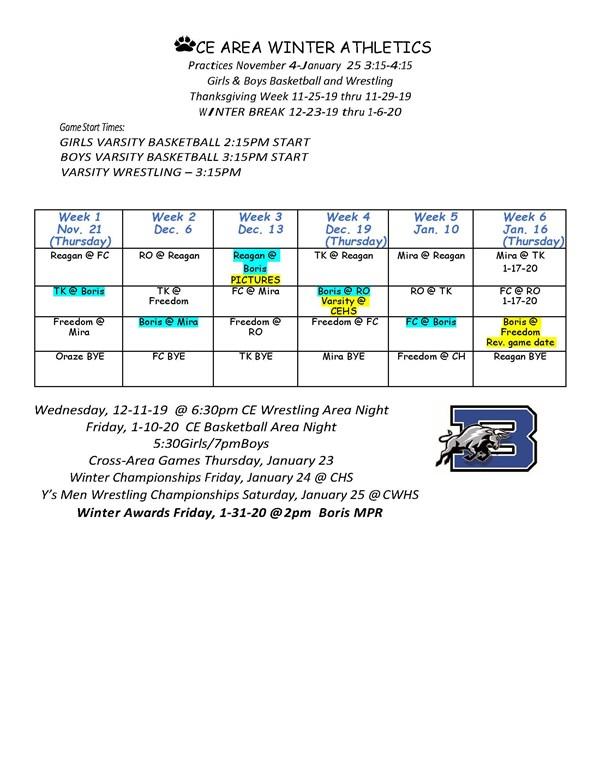 Winter Sports Schedule
