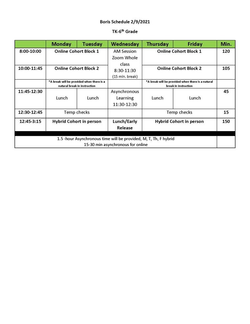 Hybrid Schedule 2020-2021