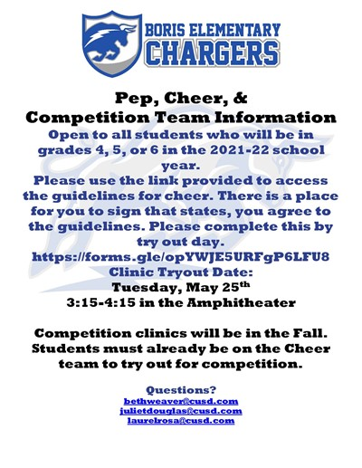 2021-2022 Cheer Tryout Information