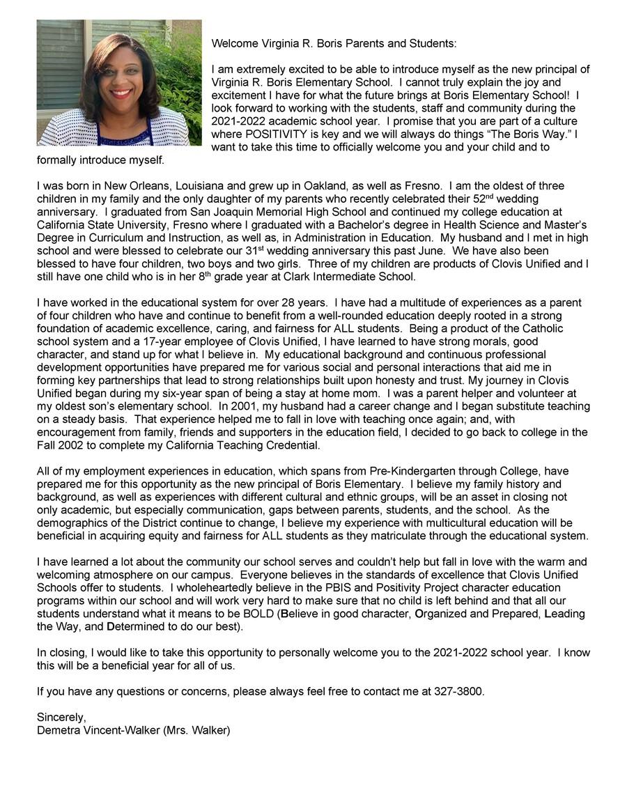 Principal Demetra Vincent Walker's Message